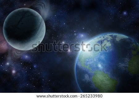 Earth in fantastic space (Elements of this image furnished by NASA) - stock photo