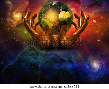 Earth in gods hands - stock photo