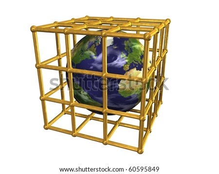 Earth in golden cage - stock photo