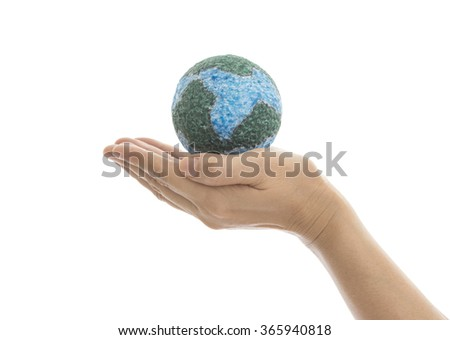 Earth in hand isolated on white background with clipping path. Environment and ecology concept. - stock photo