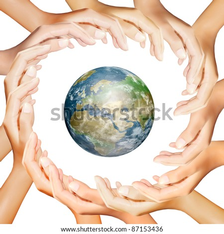 earth in hands making a circle - stock photo