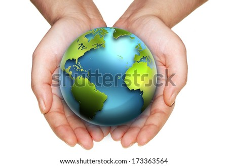 earth in hands on a white background. Elements of this image furnished by NASA. - stock photo