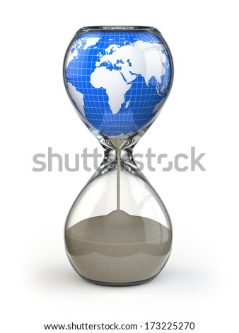 Earth in hourglass. Conceptual image destruction of the world. 3d - stock photo