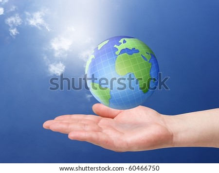 earth in palm of man hand