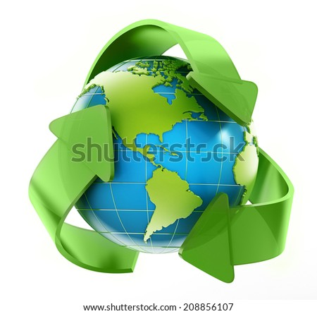 Earth in recycle symbol. Elements of this image furnished by NASA.