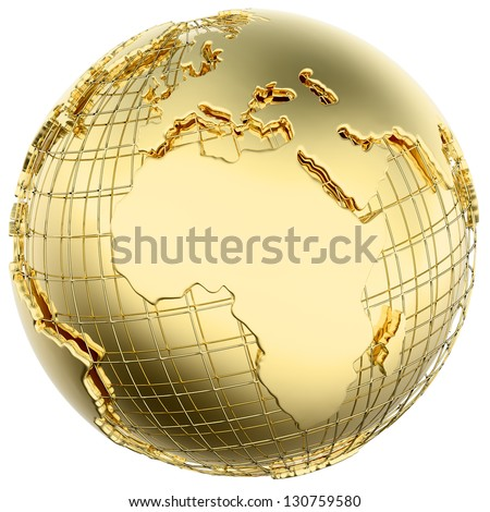 Earth in solid gold (Africa/ Europe) isolated (3d mesh derived from NASA map - http://visibleearth.nasa.gov/) - stock photo