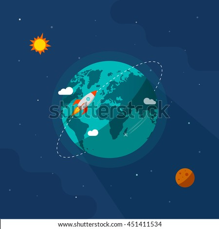 Earth in space illustration, rocket space ship flying around planet orbit on solar system universe, moon, starts flat cartoon design image - stock photo
