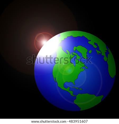 Earth in space, the sun glare, raster