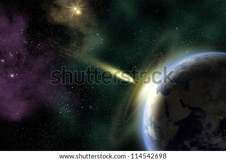 Earth in space with a flying asteroid. Asteroid impact. Armageddon (elements furnished by NASA). - stock photo