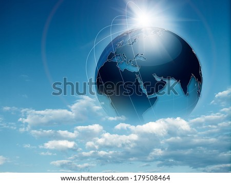 Earth in the skies, abstract travel and environmental backgrounds - stock photo