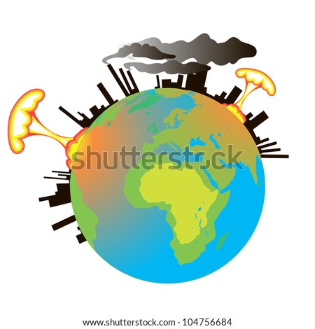 Earth in the smoke of factories and nuclear explosions. - stock photo