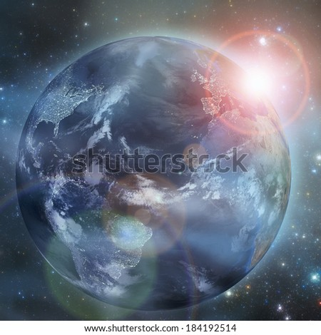 Earth in the space illustration. Elements of this image furnished by NASA - stock photo