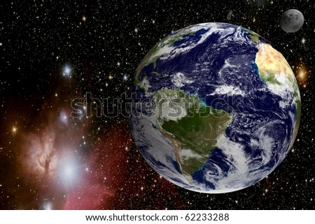 Earth in universe - stock photo