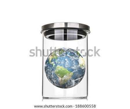 Earth inside a glass jar (Elements of this image furnished by NASA) - stock photo