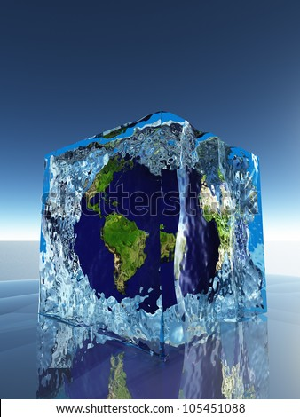 Earth inside ice cube - stock photo
