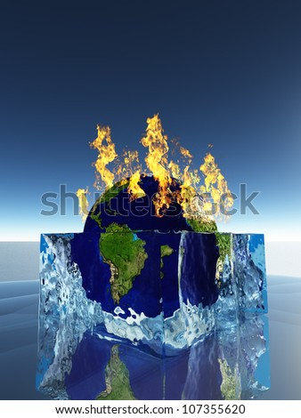 Earth inside ice cube being consumed by fire - stock photo