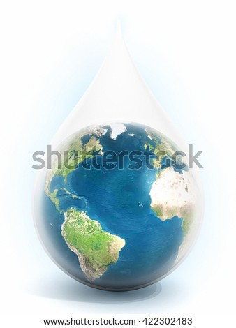 Earth inside the water drop isolated on white background. 3D illustration.