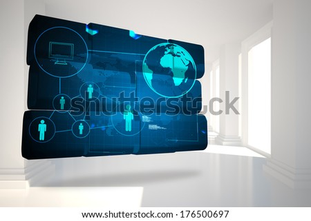 Earth interface on abstract screen against digitally generated room