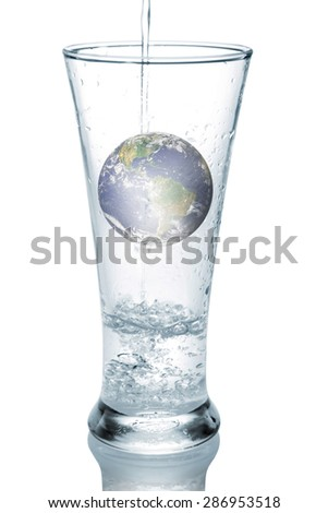 Earth is in a glass of water.Elements of this image furnished by