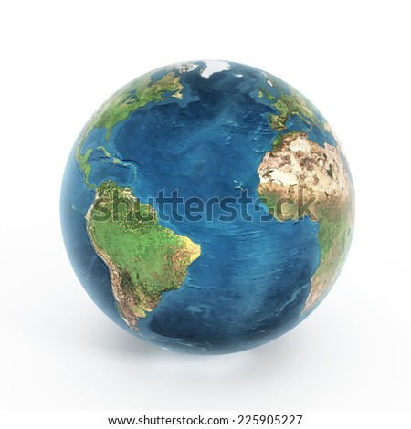 Earth isolated on white background.Image includes elements furnished by NASA.