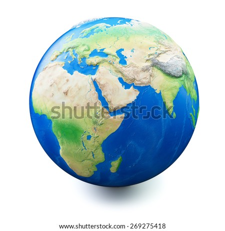 Earth isolated on white background with soft shadow. Map and earth data used is computer generated from www.naturalearthdata.com and  in public domain - stock photo