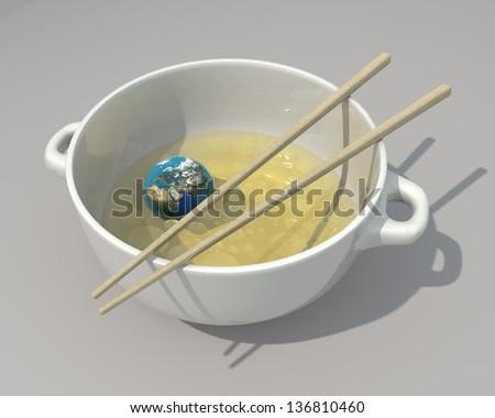 Earth like Chinese food - stock photo