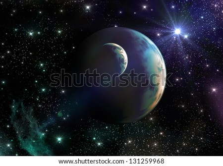 Earth-like Planets in Space with Stars and Nebula - stock photo