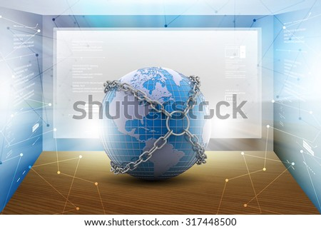 Earth locked with chain in  color background - stock photo