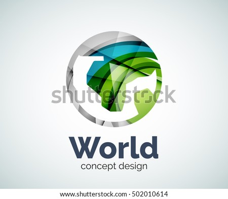 Earth logo template, abstract elegant glossy business icon