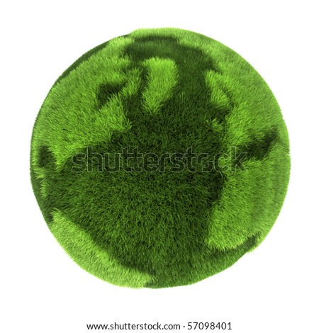 Earth made of green grass, 3D abstract rendering