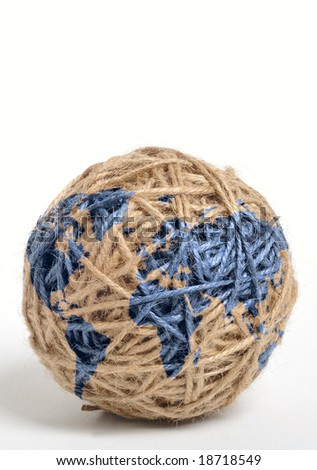 Earth map printed on a ball of string - stock photo