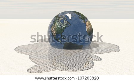 Earth melts into binary - stock photo