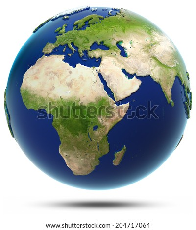 Earth model - Africa and Eurasia. Elements of this image furnished by NASA - stock photo