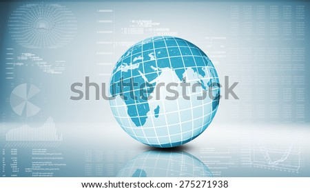 Earth model on abstract blue background with graphical charts
