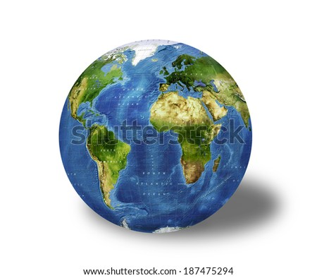 Earth model planet.  Elements of this image are furnished by NASA - stock photo