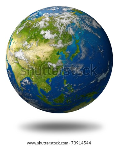 Earth model planet featuring the continent of Asia including China Japan Korea and India surrounded by blue ocean and clouds isolated on white. - stock photo