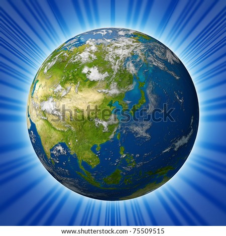 Earth model planet featuring the continent of Asia including China Japan Korea and India surrounded by blue ocean and clouds isolated on radial background. - stock photo