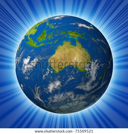 Earth model planet featuring The continent of Australia surrounded by blue ocean and clouds isolated on radial background. - stock photo