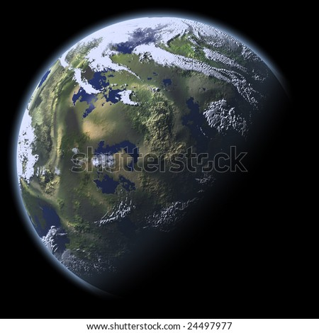 Earth Model with black background