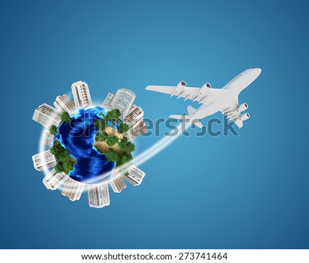 Earth model with city around, flowers on isolated blue background. Elements of this image furnished by NASA - stock photo