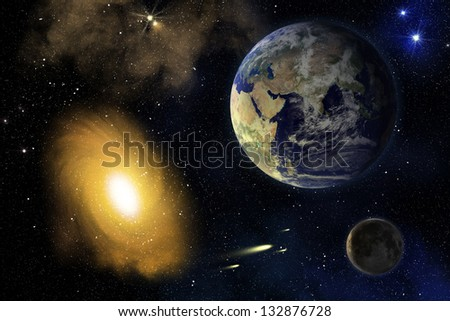 Earth, Moon and spiral galaxy in deep outer space (elements furnished by NASA) - stock photo