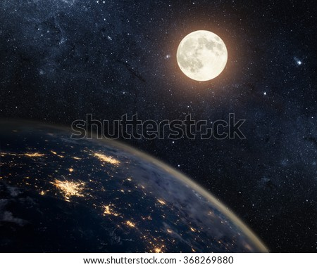 Earth, moon and star. Elements of this image furnished by NASA. - stock photo