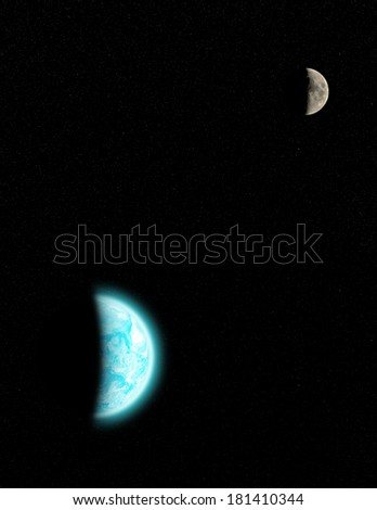 Earth, Moon and stars in the Milky Way. Planet furnished by NASA/JPL.  - stock photo