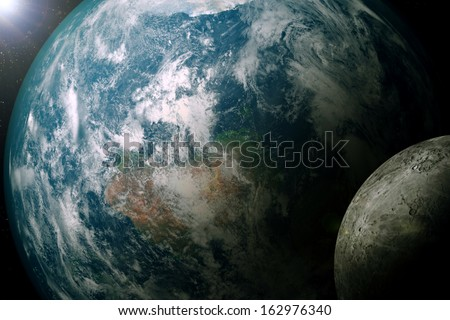 "Earth & Moon ""Elements of this image furnished by NASA"""