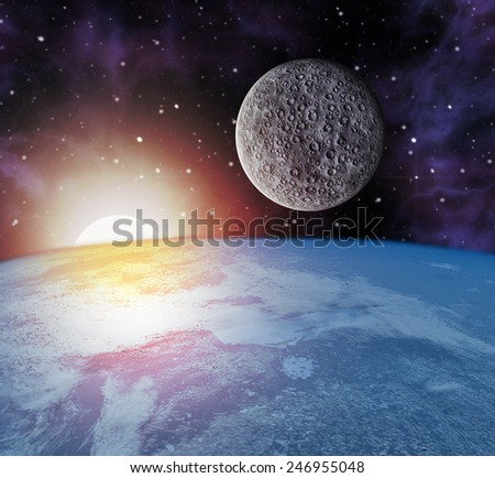 earth moon sun in space - stock photo
