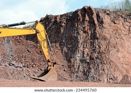 earth mover shovel in a quarry ready to work