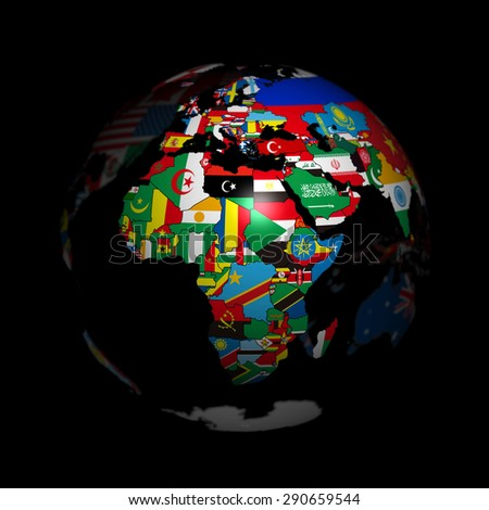 Earth, national flag, Europe, Africa