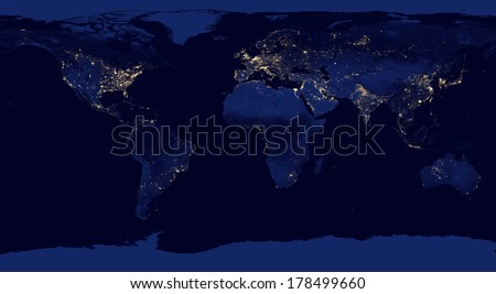 "Earth night view from space with city lights. Digitally combined from a collection of satellite-based observations. ""Elements of this image furnished by NASA"" .  - stock photo"