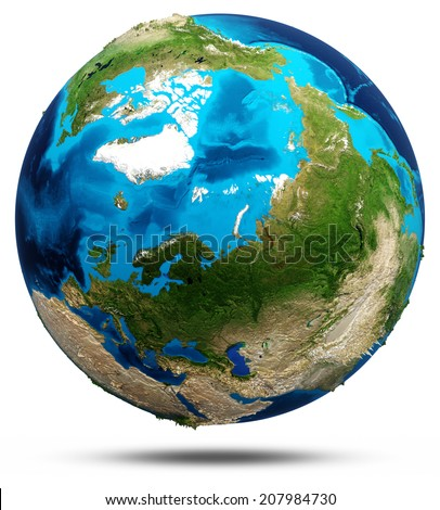 Earth - north. Real relief, modified maps, lighting and materials. Earth globe model, maps courtesy of NASA - stock photo