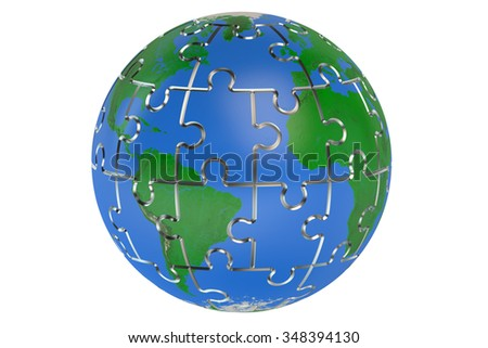 Earth of the puzzle isolated on white background - stock photo